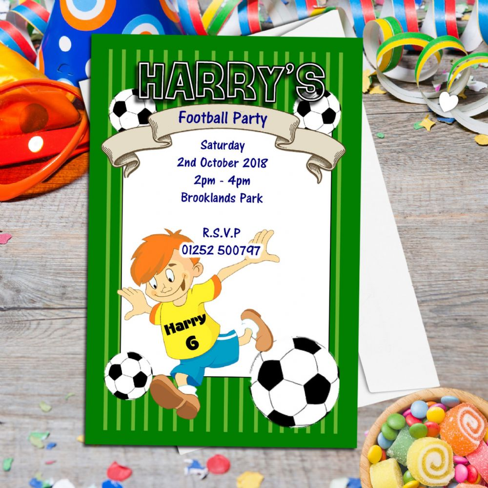 10 Personalised Football Birthday Party Invitations N40 - The ...